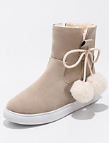 Feminino Sapatos Flocagem Outono Inverno Conforto Botas Rasteiro Ponta Redonda Pom Pom Para Preto Bege Amarelo