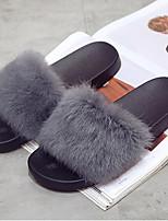 Women's Shoes Fur Fall Winter Fur Lining Comfort Slippers & Flip-Flops Flat Heel Open Toe For Casual Wine Green Gray Black