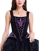 Corset Vêtement de nuit Femme,Sexy Push-up Rétro Fleurs Coton