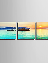 E-HOME Stretched Canvas Art Sunset On The Lake Decoration Painting Set Of 3