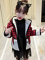 Girls' Plaid Patchwork Jacket & Coat,Polyester Fall Winter Long Sleeve
