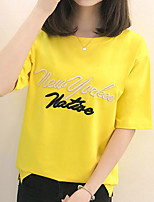 Women's Going out Casual/Daily Simple Summer Fall T-shirt,Letter Round Neck Half Sleeves Cotton Medium