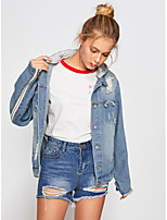 Women's Casual/Daily Street chic Fall Winter Denim Jacket,Solid Shirt Collar Long Sleeve Regular Cotton Embroidered