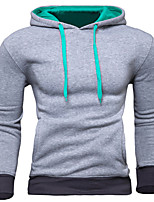 Men's Sports Going out Simple Hoodie Solid Hooded Micro-elastic Cotton Others Long Sleeve Spring Fall