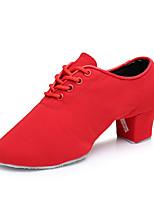 Women's Jazz Synthetic Heel Indoor Low Heel Red Black Customizable