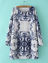 T-shirt Da donna Per uscire Casual Romantico Primavera Autunno,Con stampe Rotonda Cotone Altro Manica lunga Sottile Medio spessore