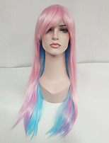 Women Synthetic Wig Capless Long Straight Pink Highlighted/Balayage Hair With Bangs Natural Wigs Costume Wig