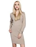 Linea A Vestito Da donna-Per uscire Casual Semplice Moda città Tinta unita A V Sopra il ginocchio Manica lunga Cotone Nylon Autunno
