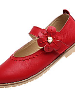 Girls' Shoes Real Leather Cowhide Spring Summer Comfort Light Soles Flats Magic Tape Flower For Casual Outdoor Blushing Pink Red White