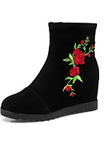 Women's Shoes Fabric Fall Winter Novelty Fashion Boots Boots Wedge Heel Round Toe Booties/Ankle Boots Flower For Wedding Casual Red Light