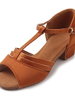 Kids' Latin Satin Sandal Heel Practice Buckle Chunky Heel Dark Brown 1