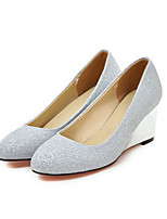 Women's Shoes Glitter Spring Fall Comfort Novelty Heels Wedge Heel Pointed Toe For Office & Career Dress Silver Black Gold