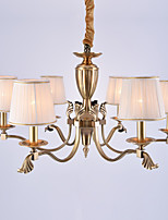 Europe Six Heads Amercian Classic Style Copper Chandelier Lamp for the Living Room / Bedroom /Canteen Room / Foyer Simple Luxury Lighting Fixture