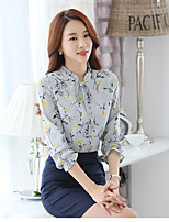 Women's Casual/Daily Cute Fall Shirt,Floral Round Neck Long Sleeves Polyester Thin