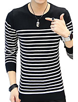 Men's Plus Size Casual/Daily Regular Pullover,Color Block Round Neck Long Sleeves Cotton Fall Winter Medium Micro-elastic