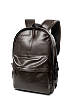 Men Bags All Seasons PU Backpack Zipper for Casual Professioanl Use Black Coffee Brown