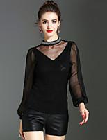 Langærmet Rullekrave Medium Damer Ensfarvet Forår Efterår Vintage Sofistikerede I-byen-tøj Afslappet/Hverdag Bluse,Polyester