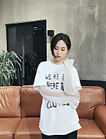 Women's Casual/Daily Simple Spring Fall T-shirt,Solid Letter Round Neck Long Sleeves Cotton