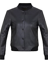 Women's Going out Casual/Daily Simple Street chic Spring Fall Leather Jacket,Solid Letter Stand Long Sleeve Regular Others