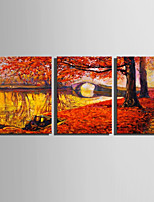 E-HOME Stretched Canvas Art  The Red Foliage Of Late Autumn Decoration Painting Set Of 3