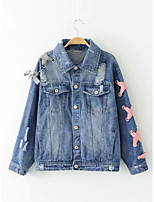 Women's Going out Casual/Daily Simple Spring Fall Denim Jacket,Solid Shirt Collar Long Sleeve Regular Cotton Others