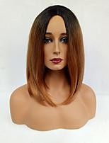 Femme Perruque Synthétique Sans bonnet Mi Longue Raide Noir / Medium Auburn Cheveux Colorés Racines foncées Au Milieu Coupe Carré
