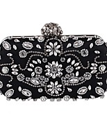 Women Bags All Seasons Polyester Evening Bag Appliques Crystal Detailing Pearl Detailing for Wedding Event/Party Black Almond