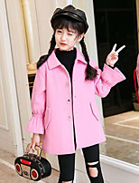 Girls' Print Trench Coat,Polyester Fall Winter Long Sleeve