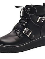 Femme Chaussures Polyuréthane Automne Confort boîtes de Combat Bottes Talon Plat Bout rond Bottes Mi-mollet Boucle Pour Décontracté Noir