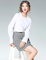 Damen Solide Street Schick Ausgehen Lässig/Alltäglich T-Shirt-Ärmel Rock Anzüge,Rundhalsausschnitt Herbst Lange Ärmel Mikro-elastisch