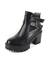Women's Shoes PU Fall Winter Comfort Boots Chunky Heel Round Toe Buckle Zipper For Outdoor Office & Career Gray Black