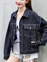 Women's Casual/Daily Street chic Spring Fall Denim Jacket,Print Shirt Collar Long Sleeve Regular Cotton