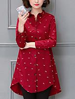 Chemise Femme,Imprimé Sports Décontracté / Quotidien simple Printemps Automne Manches Longues Col de Chemise Coton Moyen