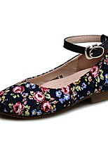 Girls' Shoes Fabric Spring Fall Comfort Flower Girl Shoes Light Soles Flats Buckle For Party & Evening Dress Dark Blue