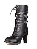 Femme Chaussures Polyuréthane Automne Hiver Confort Bottes à la Mode Bottes Gros Talon Bout pointu Bottine/Demi Botte Lacet Combinaison