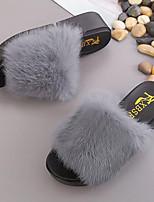 Damen Schuhe Künstliche Mikrofaser Polyurethan Vlies Herbst Winter Komfort Slippers & Flip-Flops Flacher Absatz Offene Spitze Bommel Für