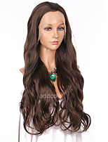 Women Synthetic Wig Lace Front Long Wavy Chestnut Brown Natural Hairline Party Wig Celebrity Wig Halloween Wig Natural Wigs Costume Wig