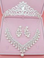 Damen Ohrstecker Halskette Imitation Diamant Klassisch Simple Style Aleación Kronenform Ohrringe Haarschmuck Halskette Für Hochzeit Party
