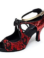 Da donna Balli latino-americani Tulle PU (Poliuretano) Tacchi Per interni Con fermaglio di chiusura Nero Argento Rosso Personalizzabile