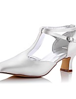 Women's Wedding Shoes Comfort Spring Fall Silk Wedding Office & Career Party & Evening Dress Chunky Heel Ivory 2in-2 3/4in