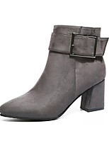 Women's Shoes PU Fall Combat Boots Boots Chunky Heel Round Toe Zipper For Dress Burgundy Gray Black