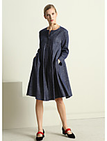 Women's Going out Cute Swing Dress,Solid Round Neck Knee-length Long Sleeves Linen Fall Mid Rise Micro-elastic Medium