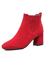 Women's Shoes Nubuck leather Fall Winter Comfort Boots Chunky Heel Square Toe For Outdoor Office & Career Red Gray Black