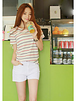 Women's Casual/Daily Cute T-shirt,Solid Striped Round Neck Short Sleeves Cotton