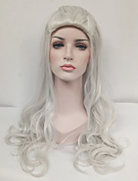Women Synthetic Wig Capless Long Wavy Silver Celebrity Wig Cosplay Wig Costume Wig
