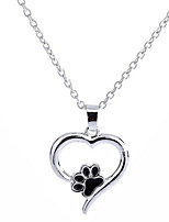 Women's Pendant Necklaces Heart Four Prongs Alloy Love Jewelry For Wedding Birthday