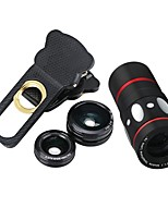 10x Multi-functional 4 in1 External Camera lens Wide-angle Macro Fisheye Telephoto for Mobile Phone (Black)