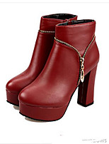 Women's Shoes PU Fall Winter Fashion Boots Bootie Boots Chunky Heel Round Toe Booties/Ankle Boots For Casual Black Red