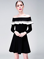 YHSP Women's Going out Casual/Daily Sexy Simple Sophisticated A Line Sheath DressSolid Boat Neck Above Knee Long Sleeves Polyester Fall Winter