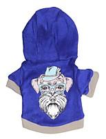 Cane Felpe con cappuccio Abbigliamento per cani Casual Cartoni animati Blu